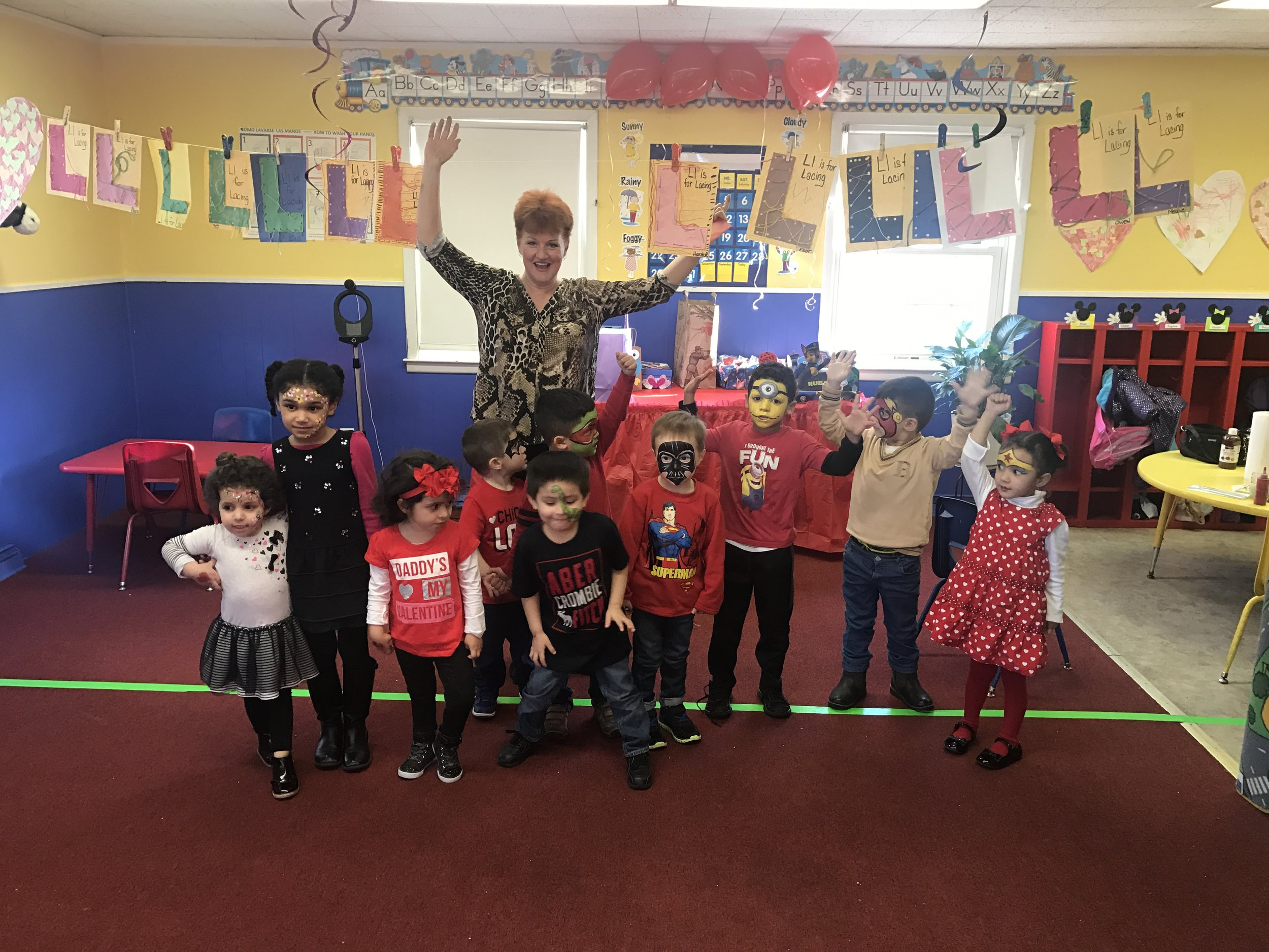 Denise from art & soul Gallery in roselle park and who works in many of the local fairs came to our VALENTINES day party.Thank you denise For Doing Awesome Face PAinting on all the students.