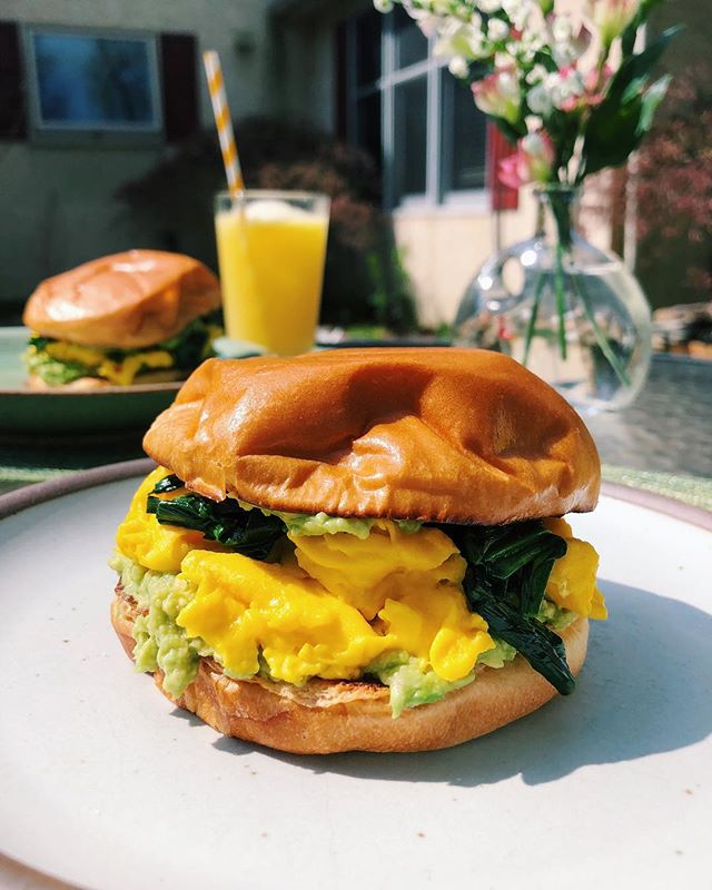 RAMP SZN continues. Latest obsession: scrambled eggs, smashed avo, lime juice, and sautéed ramps sandwiched between buttery toasty clouds of brioche. Starting to get the scaries about the impending departure of the ramps, but I am trying to live in this ramp moment. . . . . #rampszn #rampseason #ramps #wildramps #foragedramps #foraging #breakfastsandwich #rampsandeggs #blogger #foodphoto #eggs #localfood #phillyeats #phillyfoodie #westchesterfoodie #eeeeeats #foodblogger #springseason #springtime #food52 #avocado #yum #foodporn #eggporn