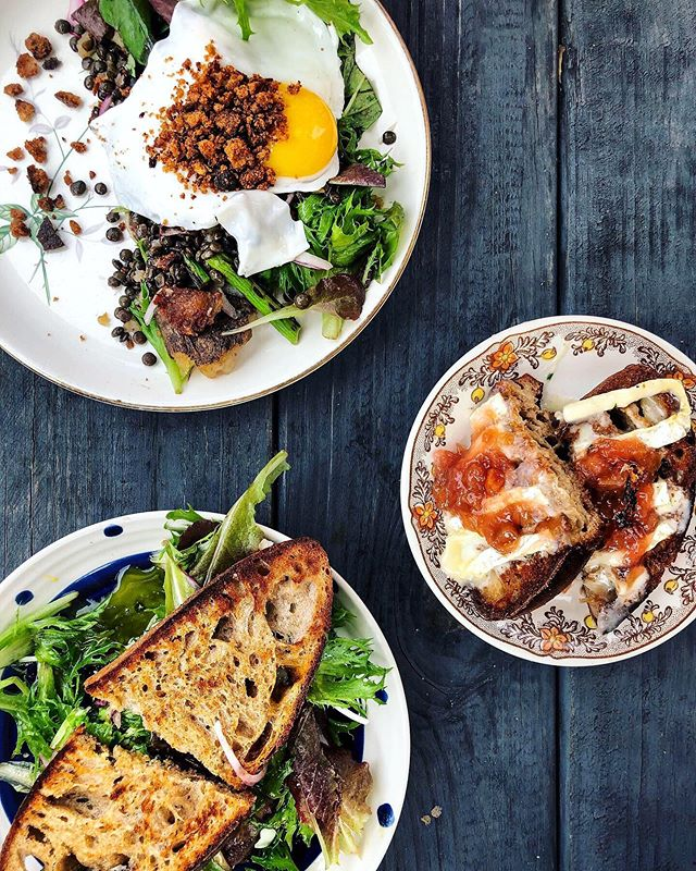 Breakfast moodboard via @bitterendsgarden 🌱🍳🥪🥗☀️ . . . Feat. 👉🏼 breakfast salad, roasted veg + goat cheese sammie, and rhubarb + brie toast 🤗