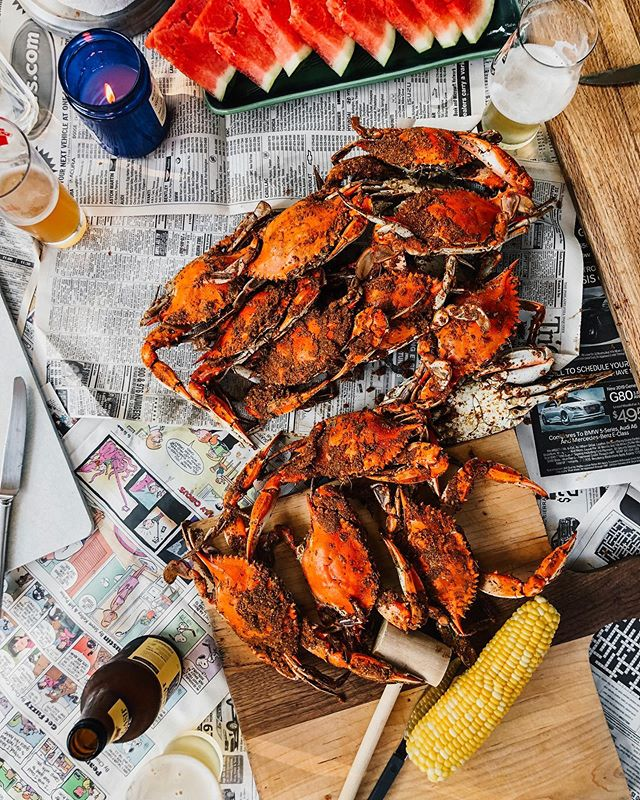 Crabs n' carbs. 🍉🌽🦀🍺 There's no better sendoff from the Delmarva than Maryland blues. Every summer we roll out the newspapers and empty a steaming hot bag of crabs onto the table. Friendly faces gather round the table and we take our time: beer and conversation flowing steadily as the sun dips below the horizon. Old bay clumps on your hands like wet sand, stinging cuts and watermelon drips down your chin. The cat brushes your leg looking for a crab scrap and you sneak one to her. These are the moments that I try to snapshot in my memory book. 🧠✨