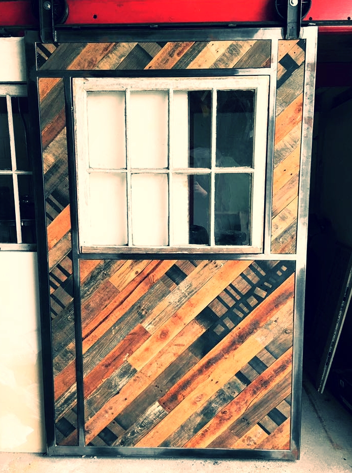 Reclaimed wood/steel rolling barn door