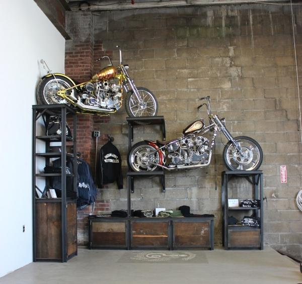 Reclaimed wood/blackened steel retail display