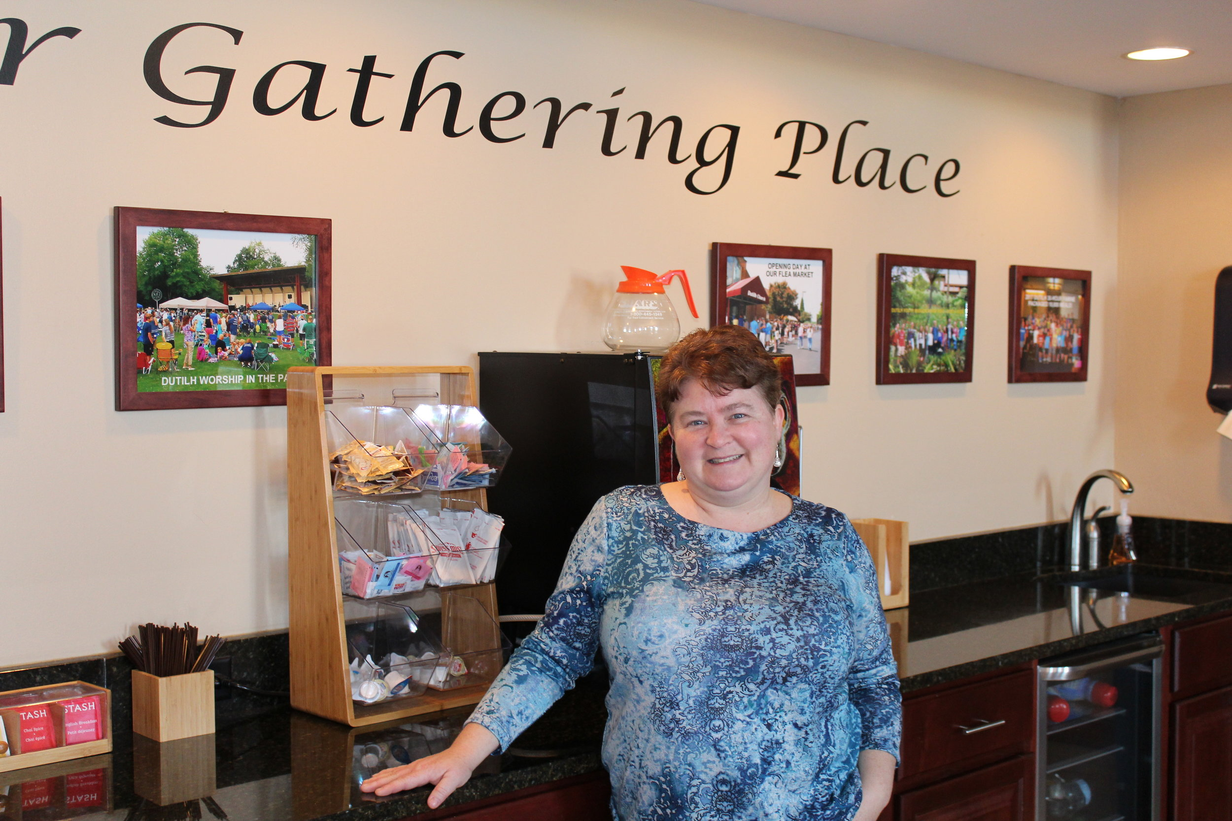 Susan Boddy, founder of Dutilh Church's Kitchen Ministry, host the cafe.