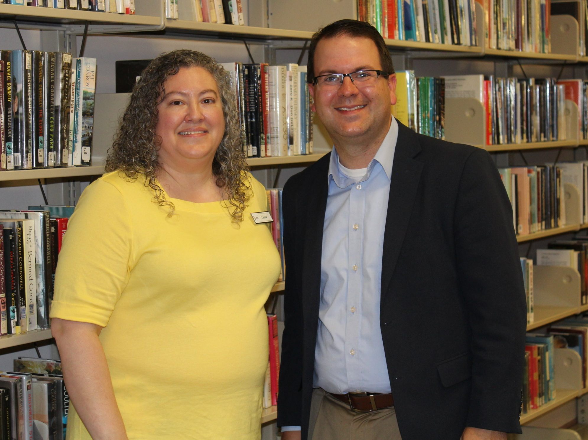 Library Director Leslie Pallotta and Pastor Tom Parkinson at the Cranberry Public Library