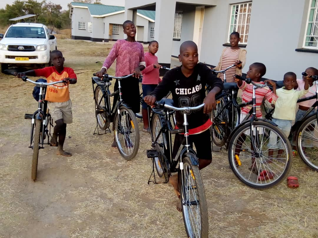 Children in Nyadire receive bicycles purchased with Dutilh Preschool's $1,200 donation.