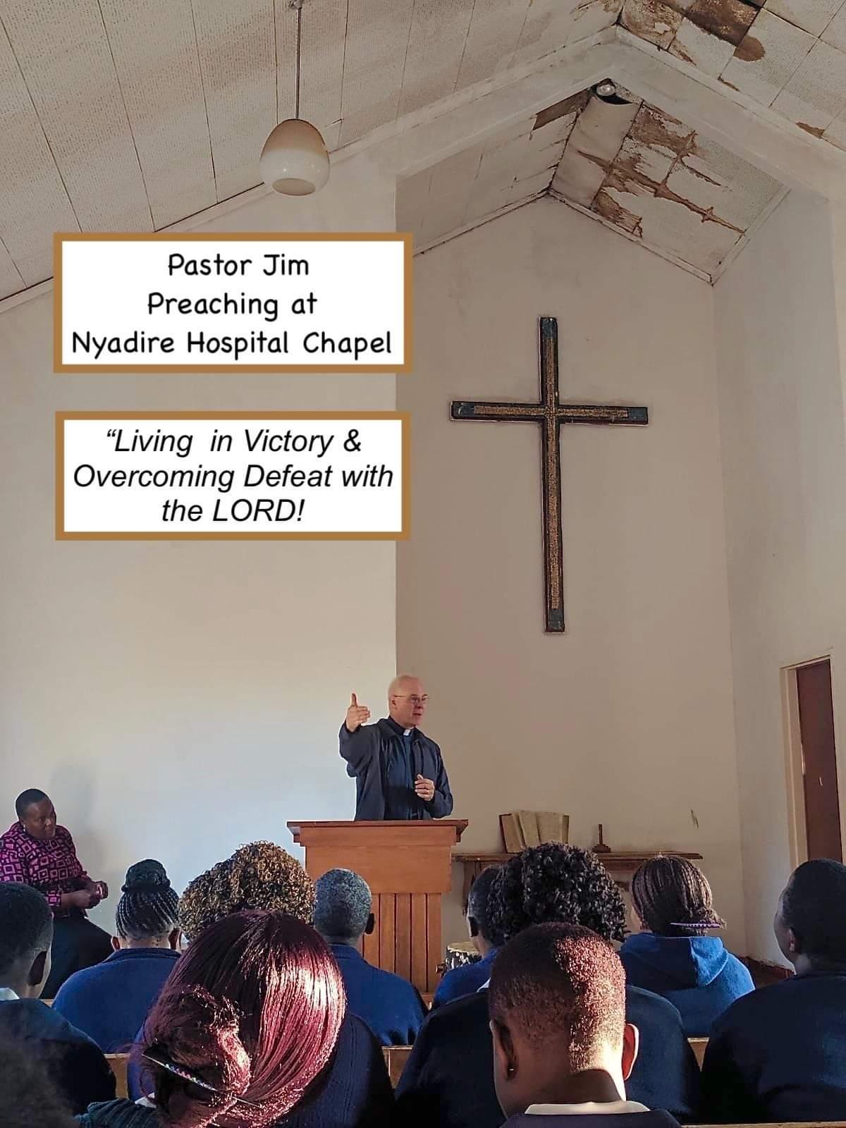 Pastor Jim preaches in Nyadire.