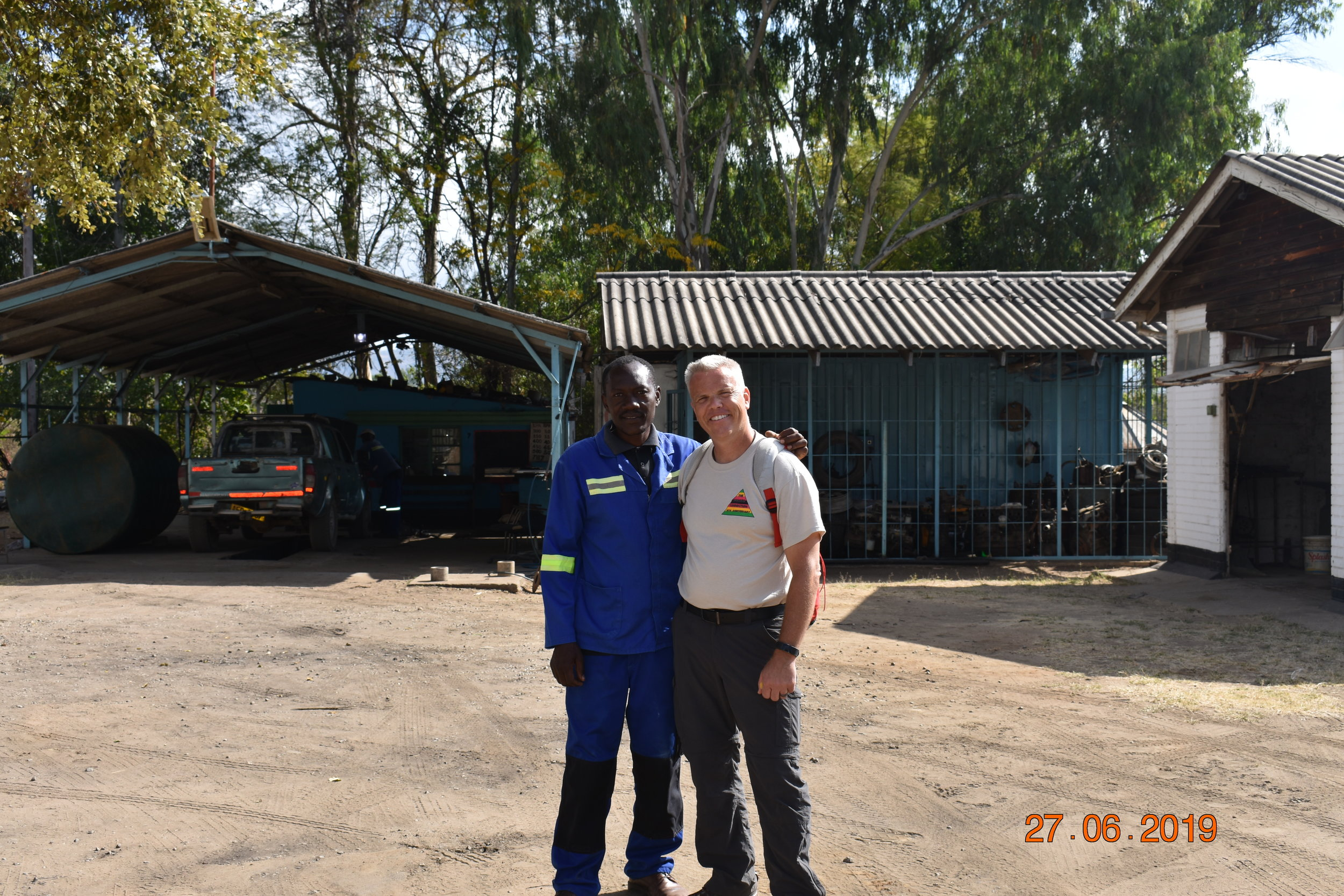 Pete Ekstam with a friend in Nyadire.