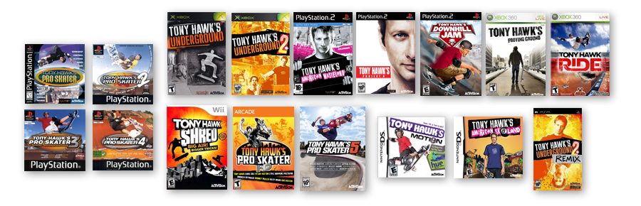 TONY HAWK GAME COVERS THROUGH THE YEARS