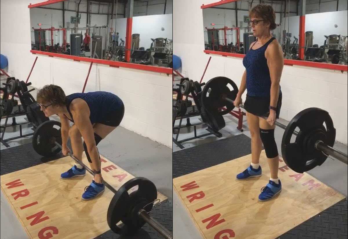 Lisa (57) deadlifts 150lb for 3 repetitions