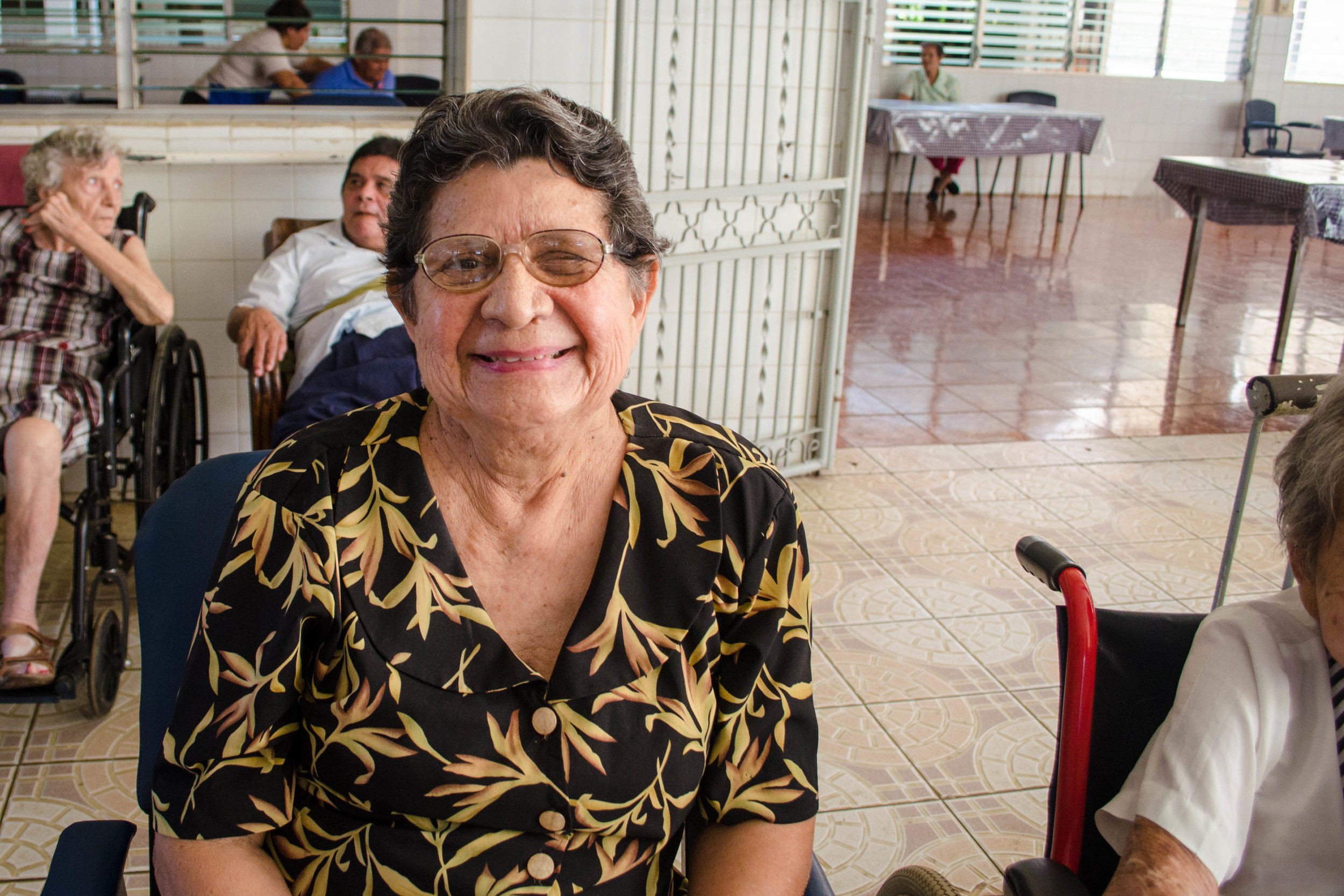 Gioconda Mayorga in San Vicente de Paúl Senior Home in León