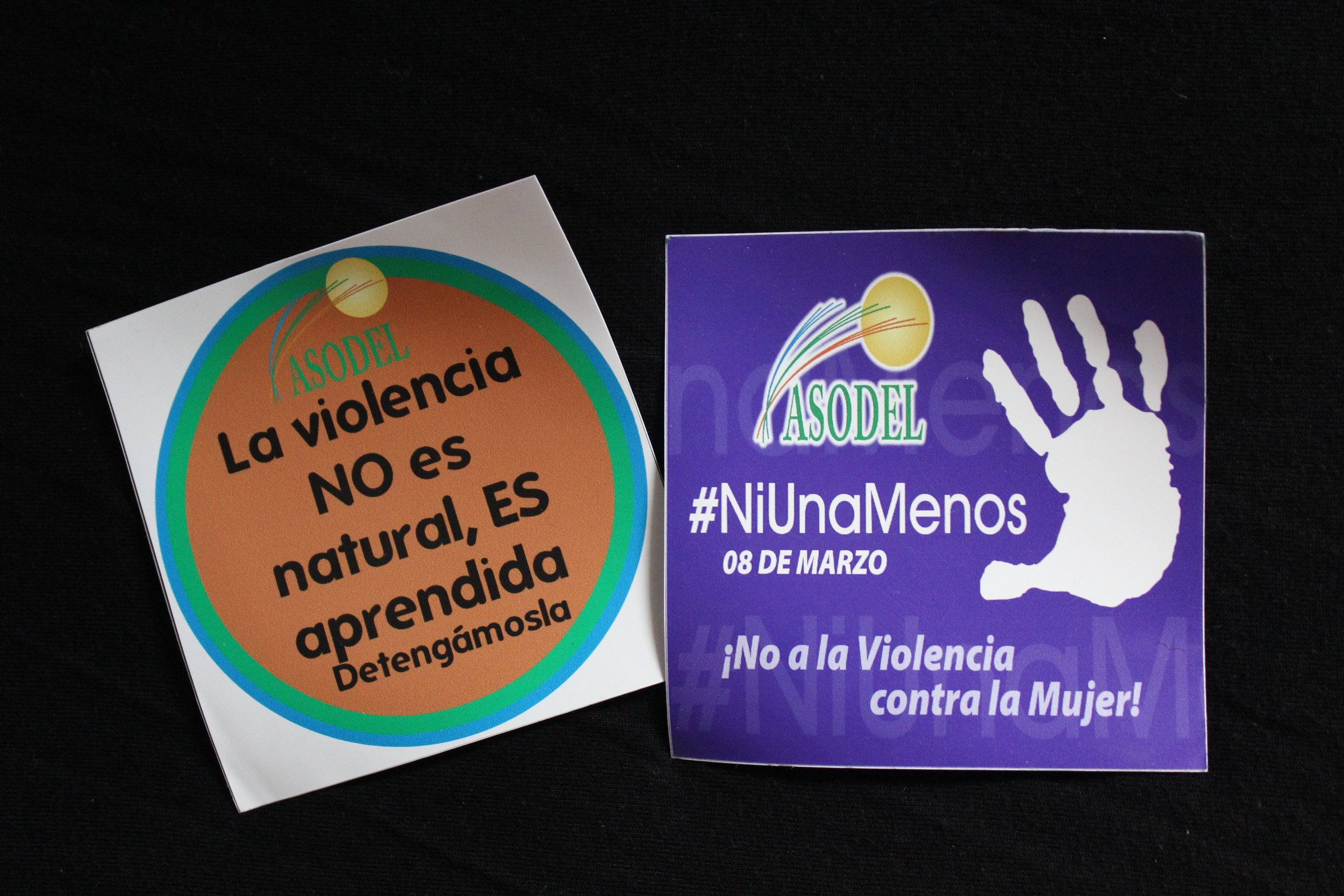 The ASODEL campaign against domestic violence uses the hashtag #NiUnaMenos (Not One Less).   Photo: Emma Robertson