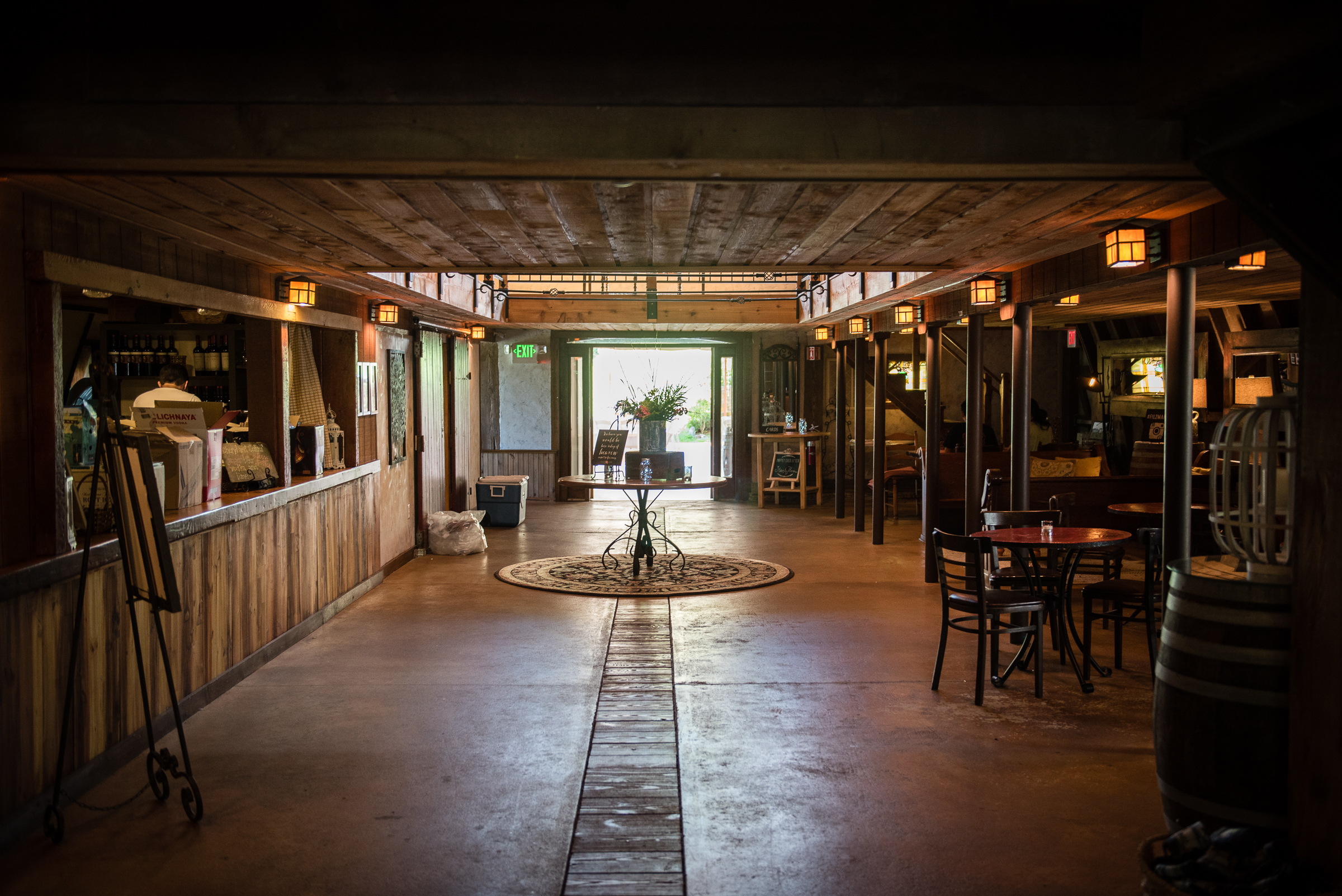 inside main building - front of bar and entrance to reception space