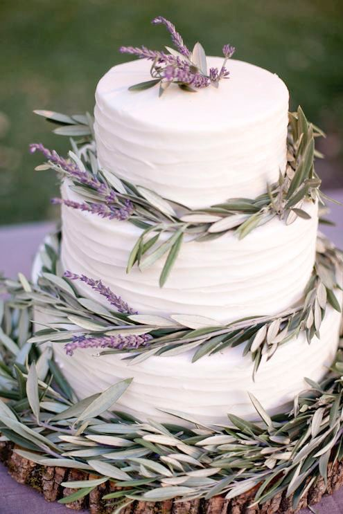 rustic white wedding cake with lavender and sage