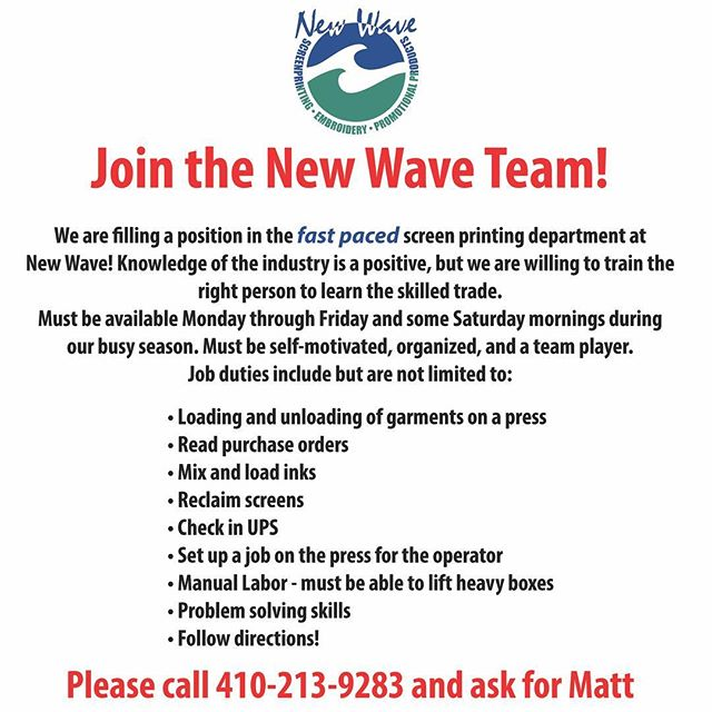We've expanded and we're hiring! Looking for a screen printer for our fast paced print department. Please share if you know someone who would be a great fit! Note: please do not message us here if you're interested; call Matt directly at 410-213-9283 #ocnewwave #screenprinting #embroidery #ocmd #oceancitymd #helpwanted