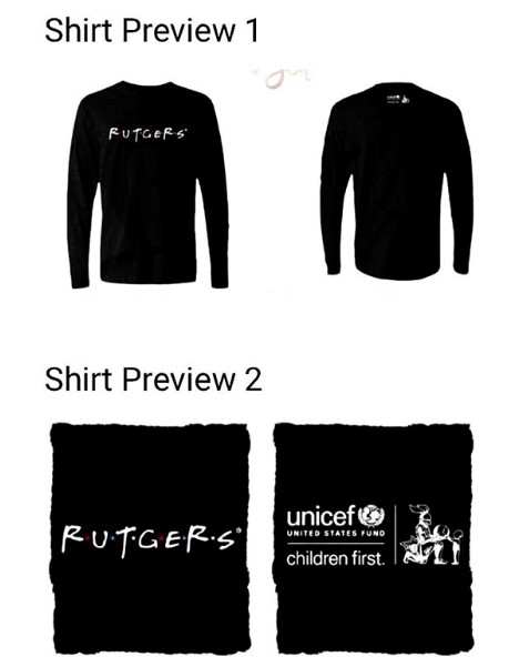 "- Interested in buying one of our Rutgers ""Friends"" t-shirts? Email us at RutgersUNICEF@gmail.com to get on the pre-order list!"