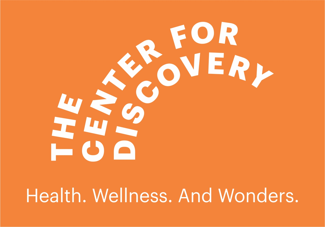 The Center for Discovery Logo. At the bottom its tagline says: Health. Wellness. And Wonders.