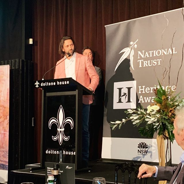 It was a real honour to present the @nationaltrustnsw Judges Choice Award today for the most Outstanding Heritage Project of the Year, after winning the inaugural award last year. The winner this year was the Anzac Memorial Centenary Project by @johnsonpiltonwalker and the #governmentarchitectsoffice - although Richard wouldn't take the winners pink jacket I suggested -legend Jack Mundey in the foreground #nationaltrustawards2019 #nationaltrust #anzacmemorial #anzacmemorialcentenaryproject @anzac_memorial #judgeschoiceaward #winnerspinkjacket #interloop #chrisfox
