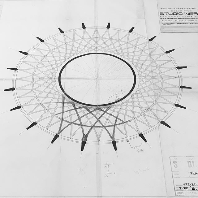 #pierluiginervi #studionervi structural design and fabrication drawings for #harryseidler #australiasquare ceiling in 1963/4 from the exhibition #designedinItalymadeinAustralia curated by @walllessvillage @usyd_arch