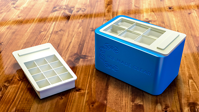 "The ICE.MADE.CLEAR set comes complete with the freezing base and two interchangeable trays for making 2"" enormous cubes and 1.25"" jumbo cubes (for tall glasses)."