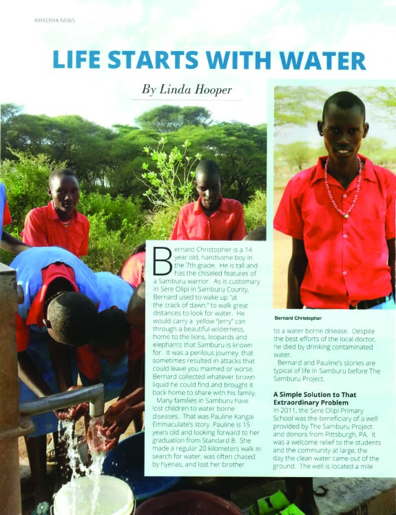 "AirKenya Article: ""Life Starts With Water""   Read Full Article"