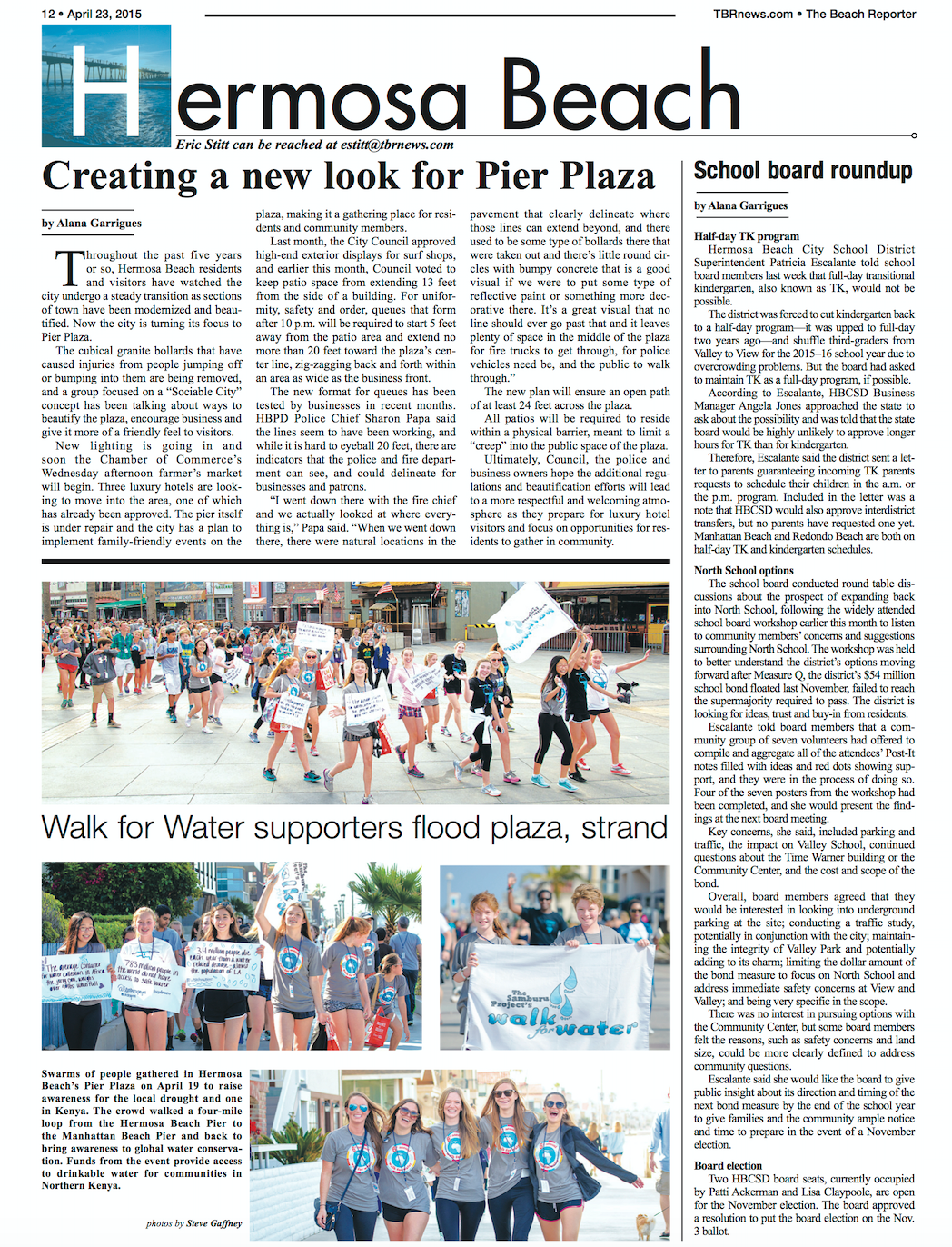 "The Beach Reporter Article: ""Walk for Water Supporters Flood Plaza, Strand""   Read Full Article"