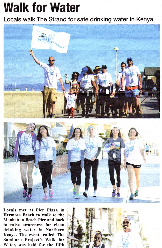 "The Beach Reporter Article: ""Walk for Water""   Read Full Article"