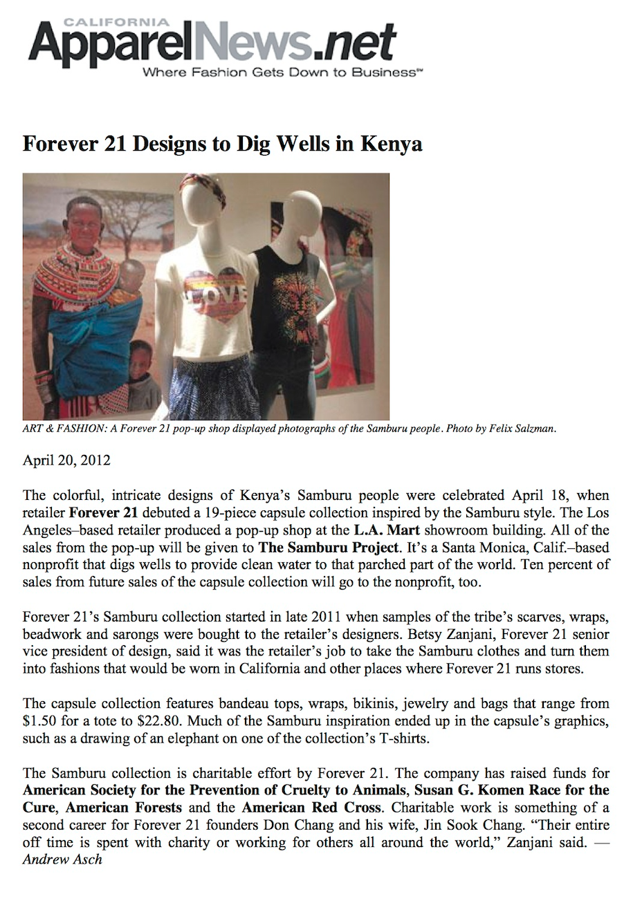 "ApparelNews.Net Article: ""Forever 21 Designns to Dig Wells in Kenya""   Read Full Article"