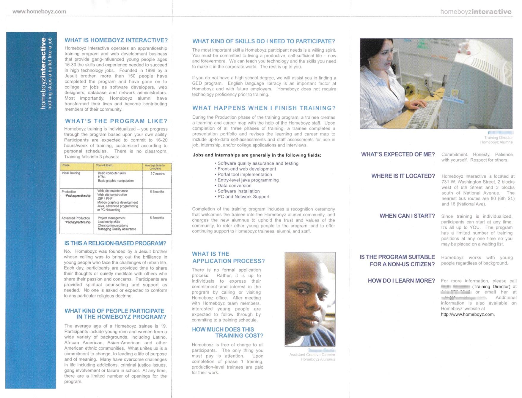 Inside of Homeboyz Training Brochure