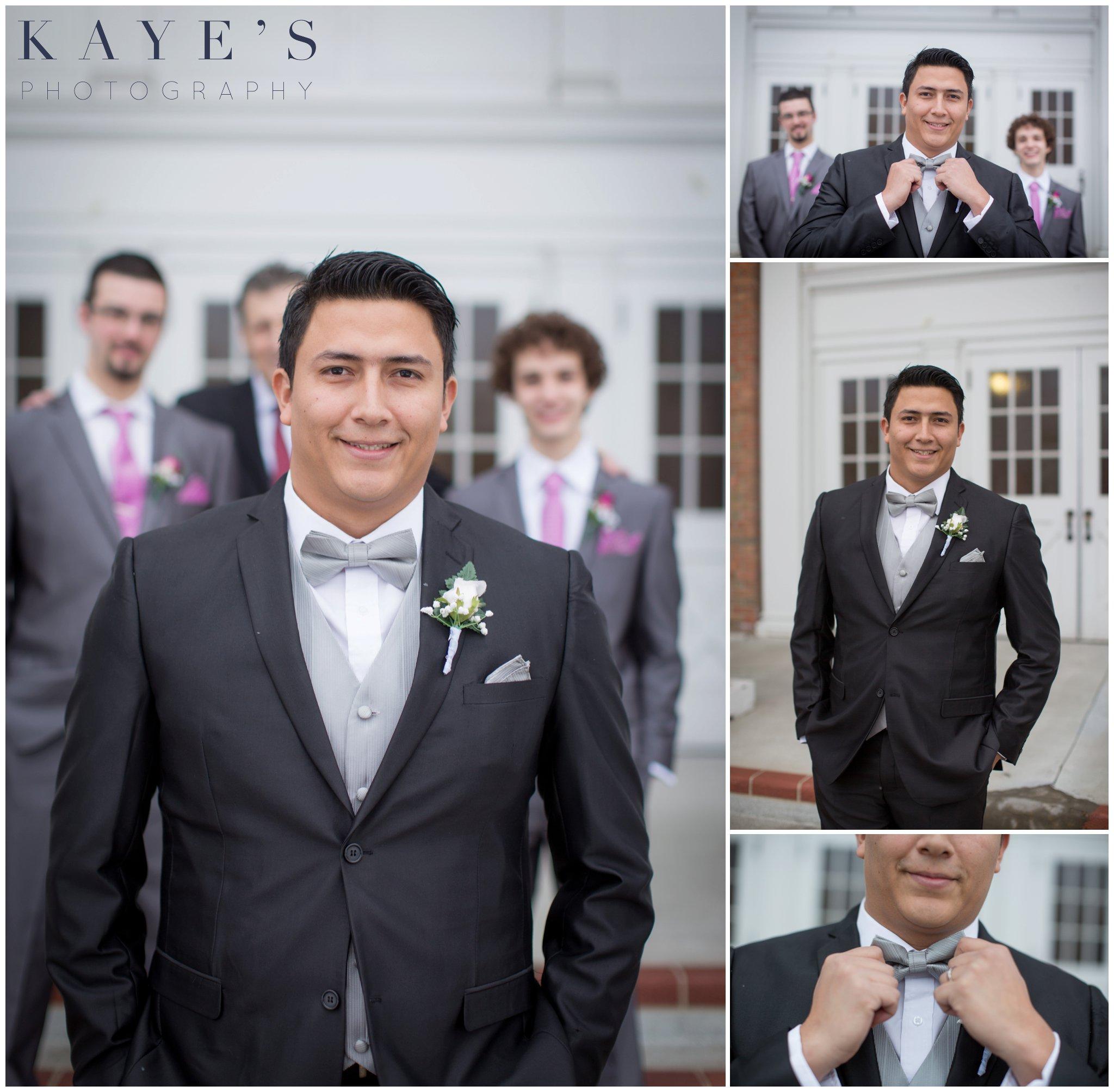 Clarkston grooms, Clarkston wedding, Clarkston wedding ideas, Clarkston reception, groom details, groom alone, groom fixing bowtie, groom shots, groom by himself