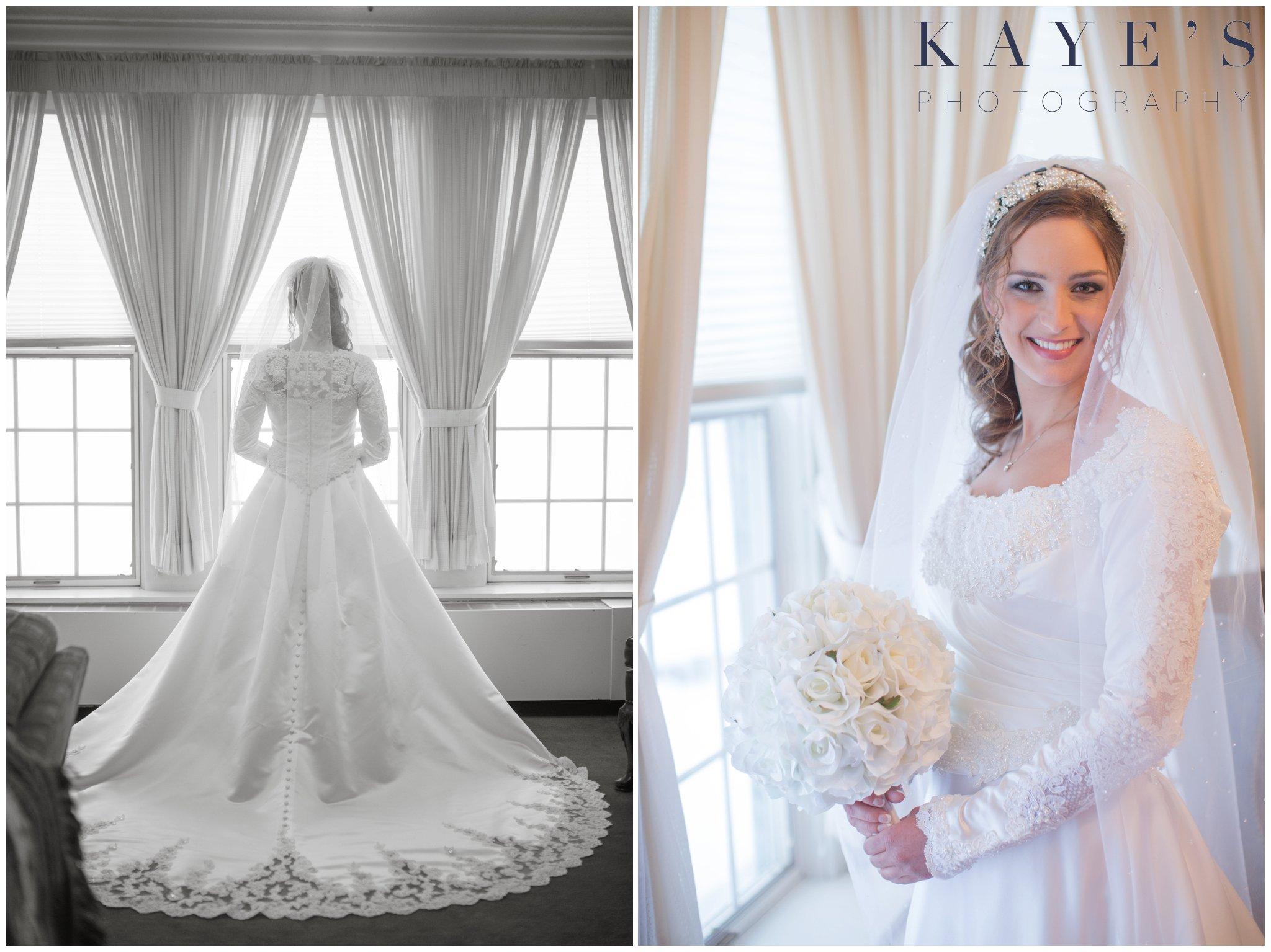 clarkston portrait photographer, clarkston best photography, bride alone, bride by window, bride holding bouquet, bride in dress