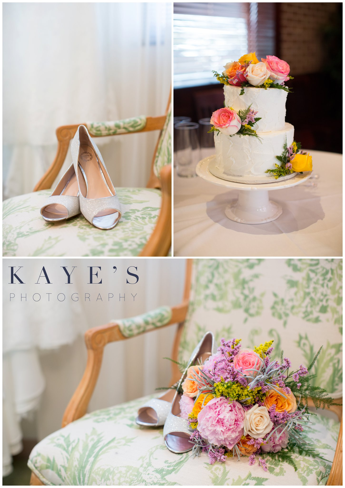 grand blanc wedding ideas, grand blanc wedding photos, grand blanc wedding portrait photographer brides shoes and flowers, wedding cake, shoes in chair