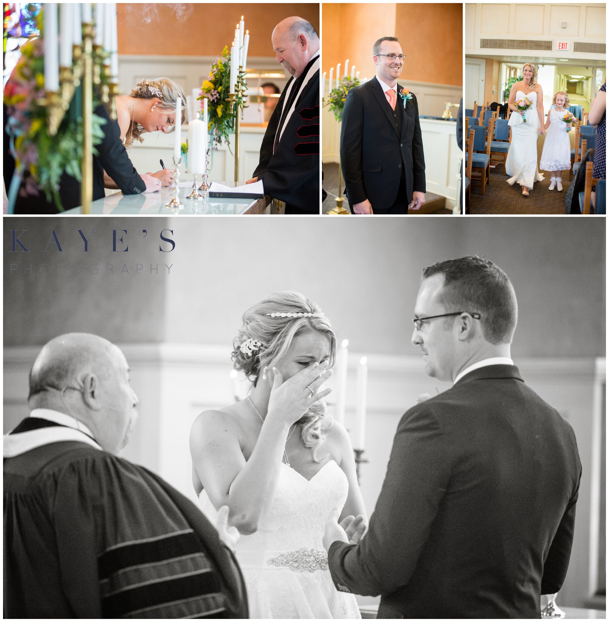 grand blanc wedding portraits, grand blanc wedding photos, grand blanc wedding photo, signing marriage license, bride crying, groom waiting for bride, bride walking down isle, saying vows