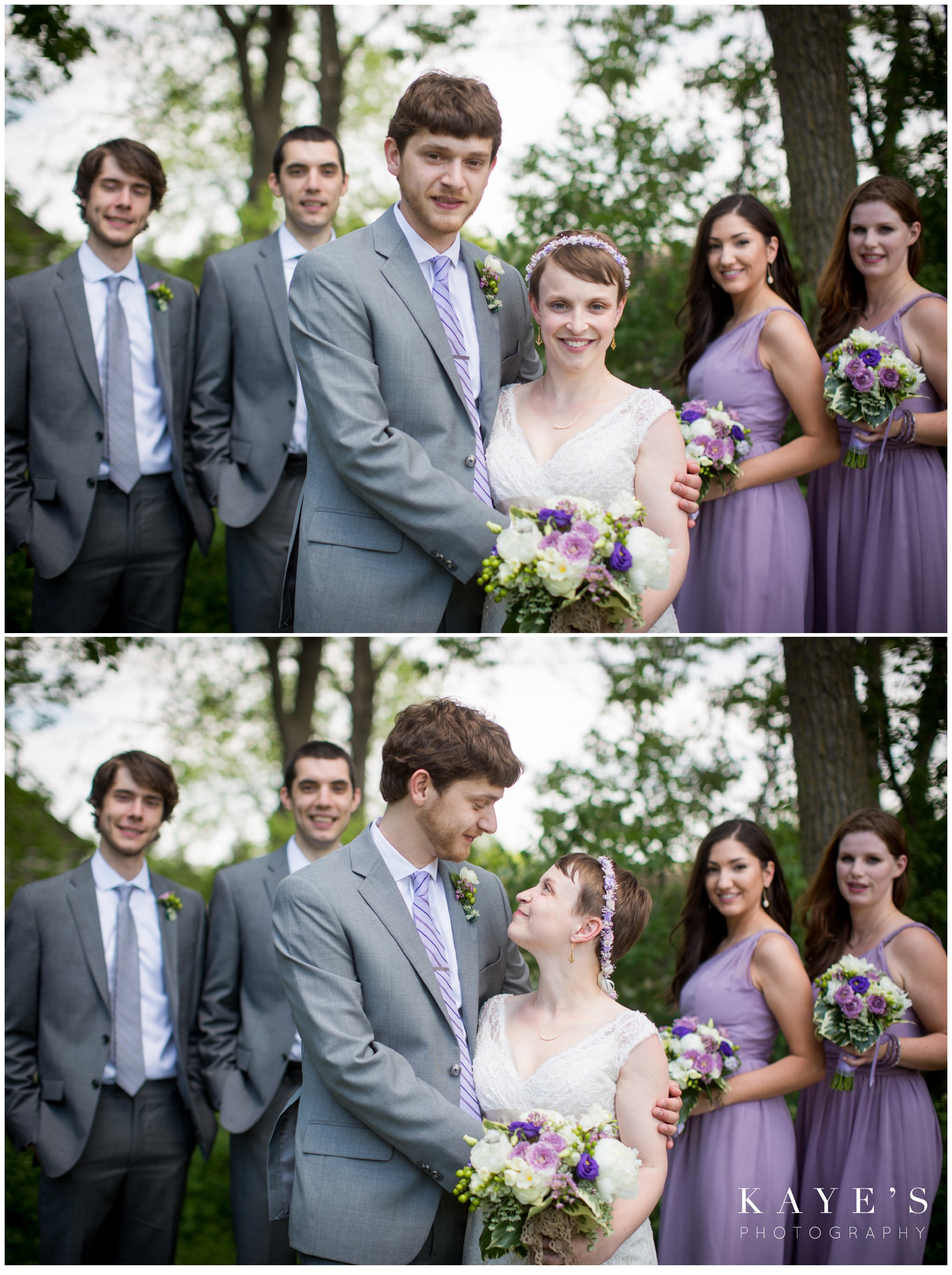 cobblestone farms ann arbor michigan wedding photographer, ann arbor michigan wedding photography, cobblestone farms wedding photos, ann arbor michigan wedding photographer ideas, bride and groom looking at each other, bride and groom with wedding party, purple, grey