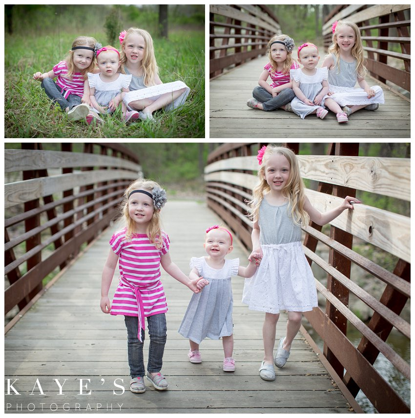 davison michigan family portrait photographer, family portrait photography, outdoor family portrait, best outdoor family portrait photograper, sisters on bridge, 3 girls in grass, sisterly love, sisters in grass