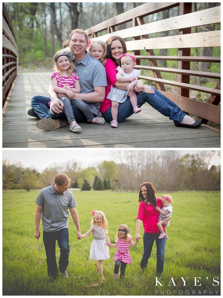 davison michigan family portrait photographer, family portrait photography, outdoor family portrait, best outdoor family portrait photograper, family walking, family on bridge, sisters, cute family