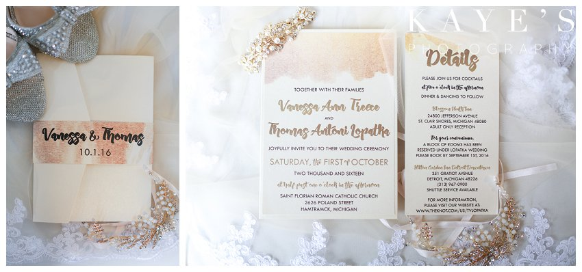 gold watercolor wedding invitations styled on wedding day for wedding portraits
