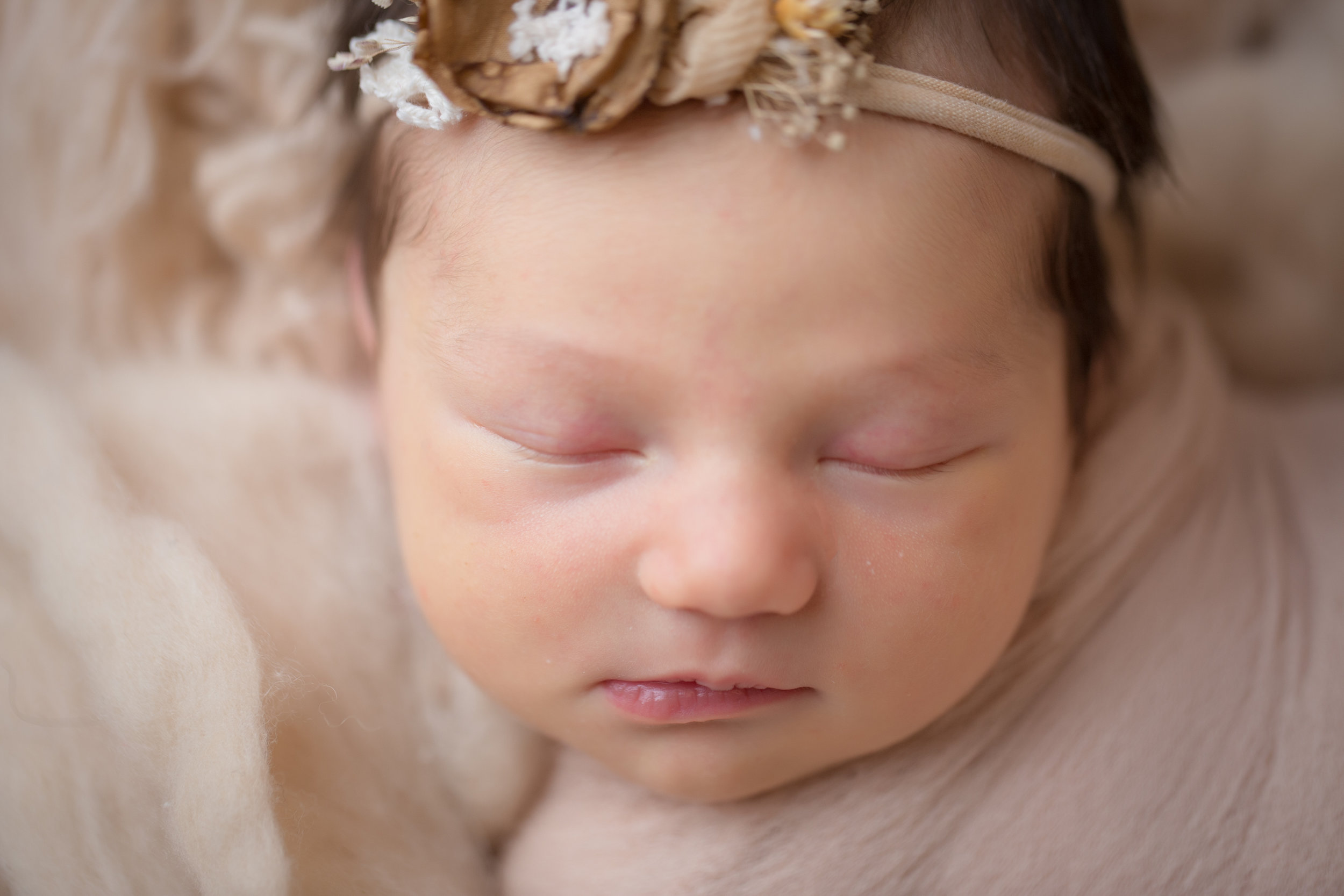 baby girl's newborn photo shoot in studio laying on a tan backdrop with a beautiful headband