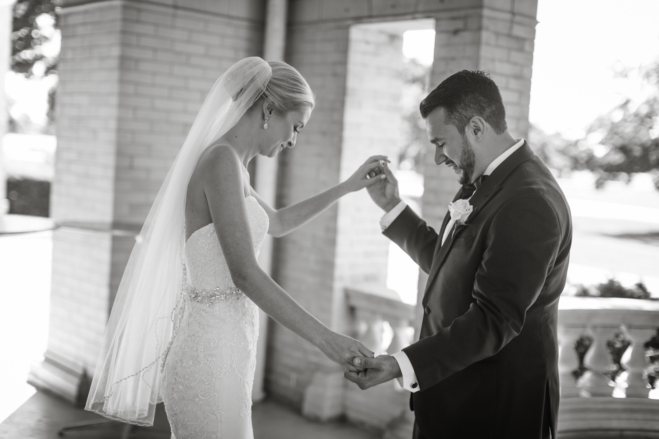 couple during their first look in detroit michigan on their wedding day