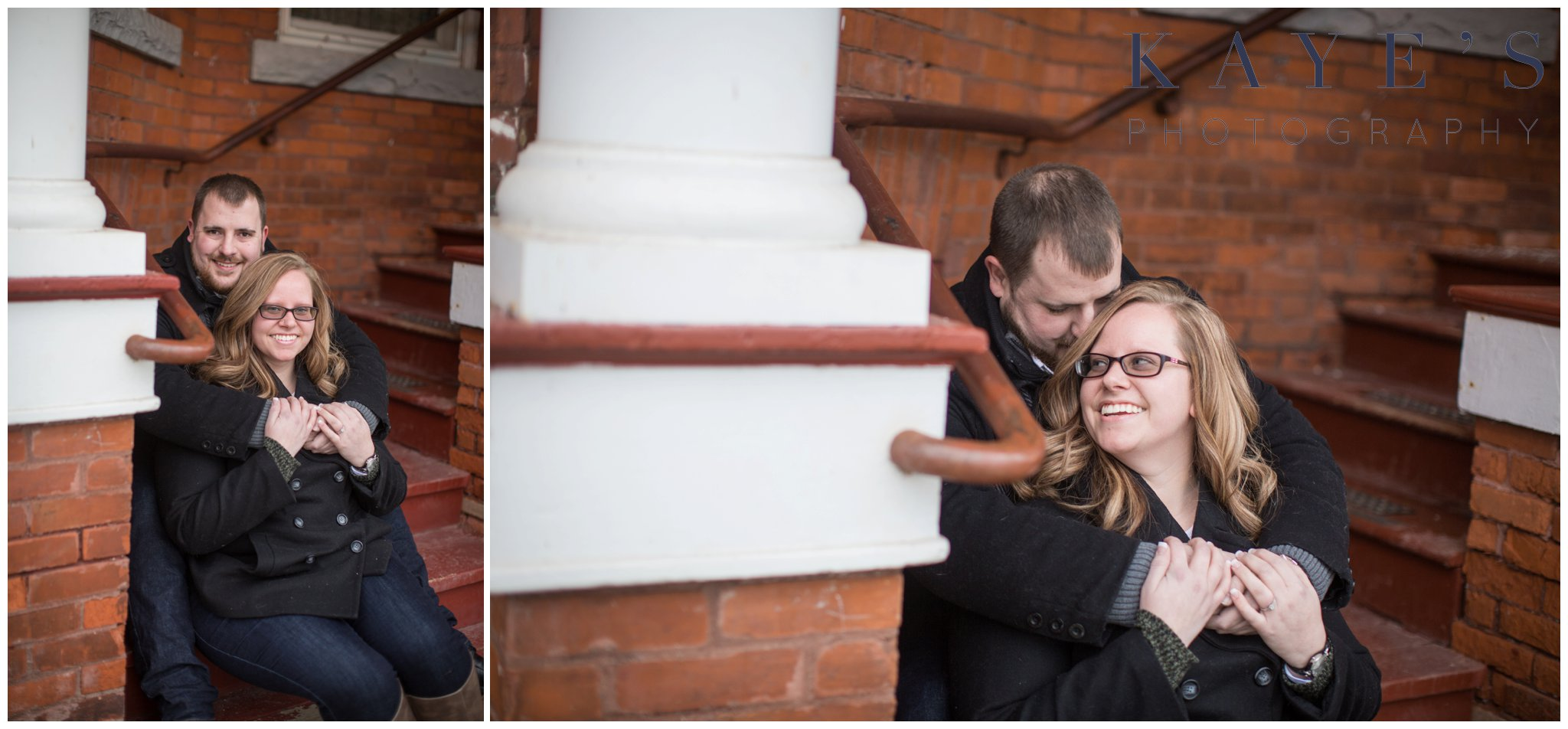 Grand blanc, Michigan engagement session with couple on stairs hugging during their engagement photos