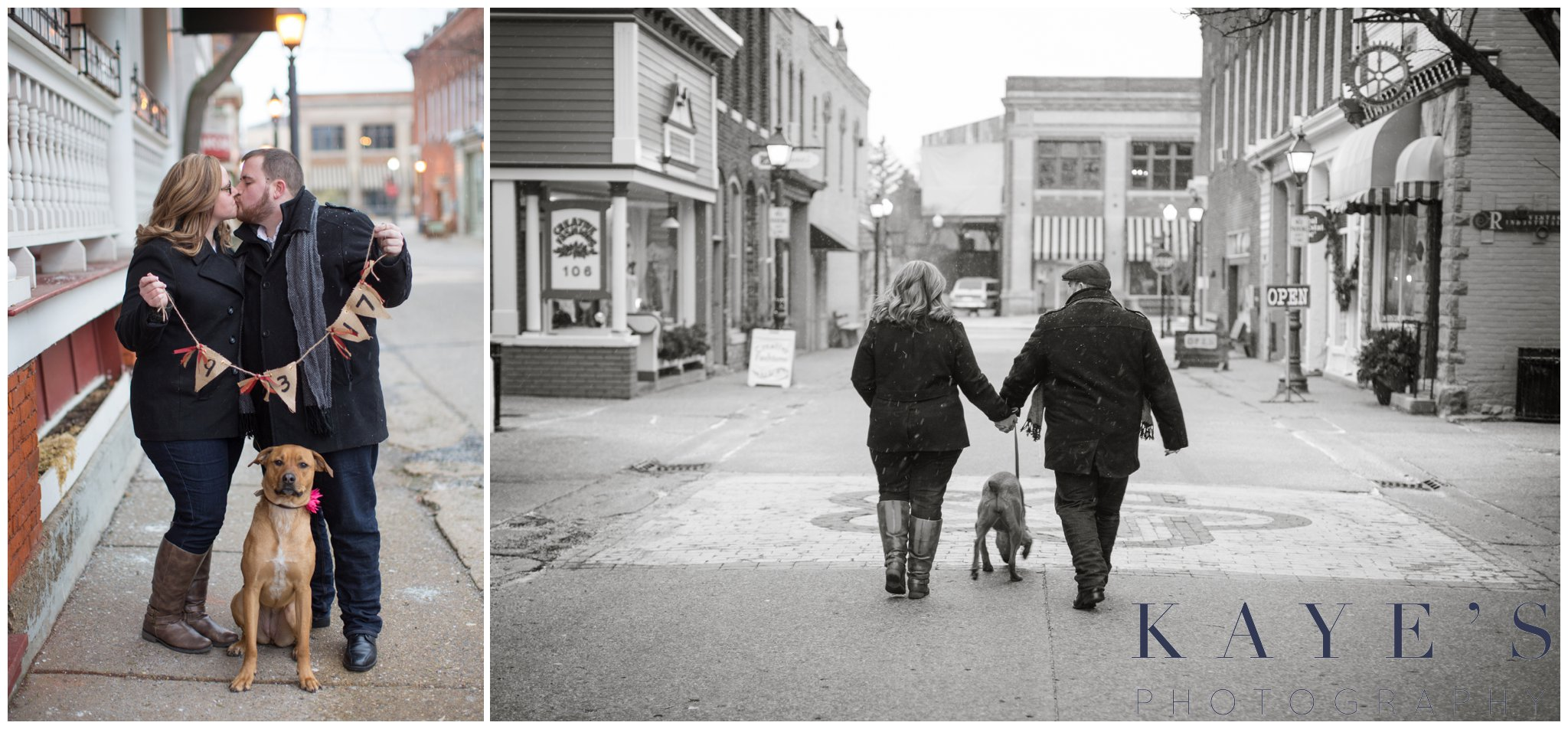 Grand blanc, Michigan engagement session with couple walking and kissing in the city with their dog during their engagement portraits