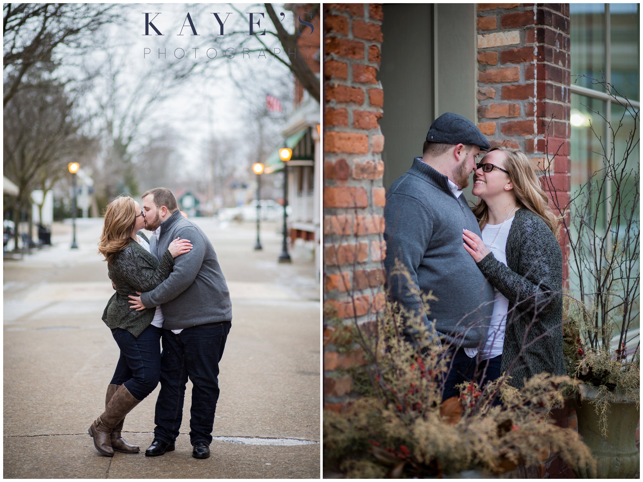Grand blanc, Michigan engagement photography session with couple in the city hugging and kissing during their engagement photos