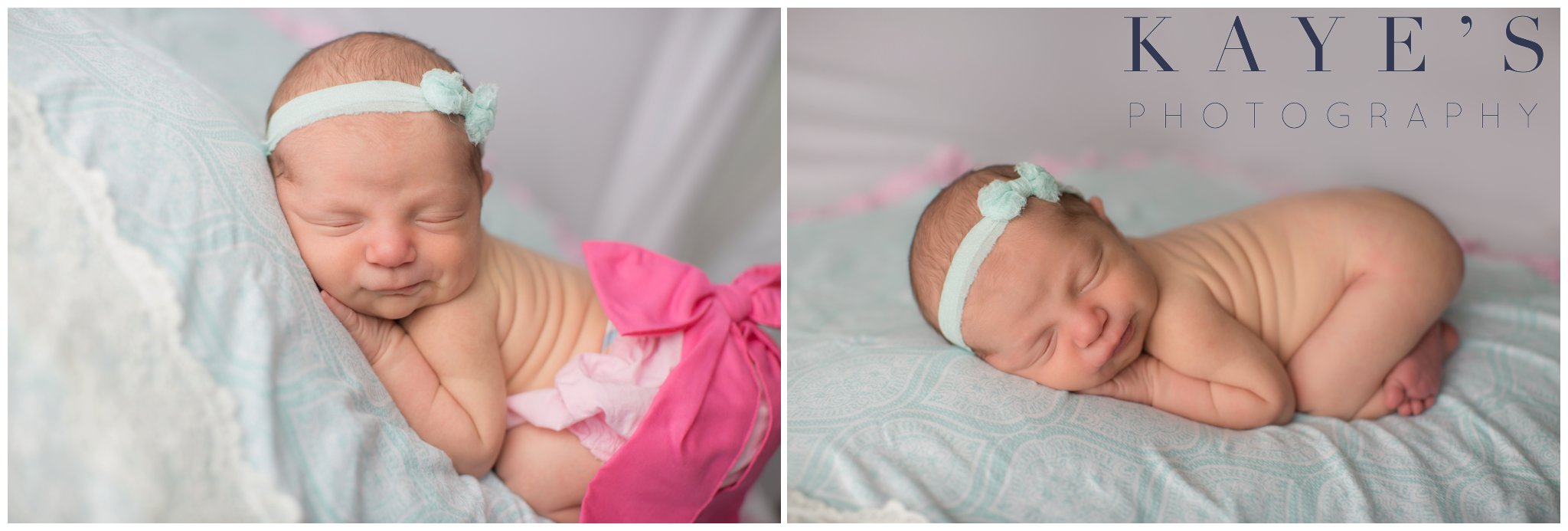 Celebrity newborn girl in studio on blue blanket wearing headband and pink bow