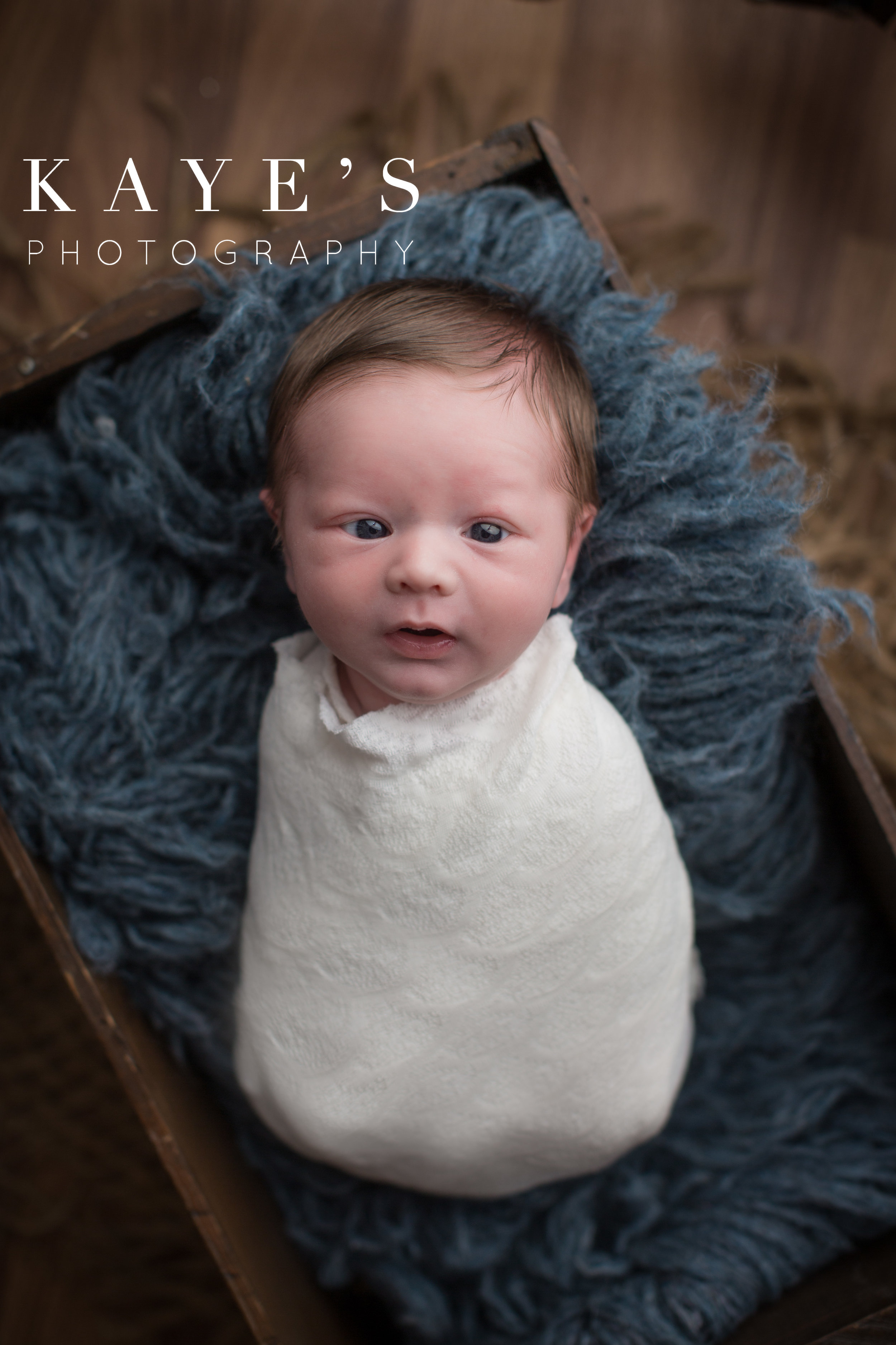 baby boy on blue looking at camera eyes open in lake fenton studio for baby photos