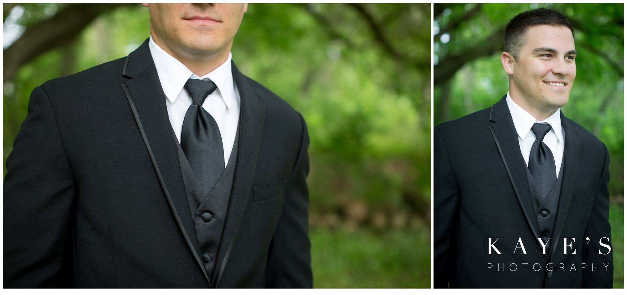 Black and white wedding with groom standing during wedding photos