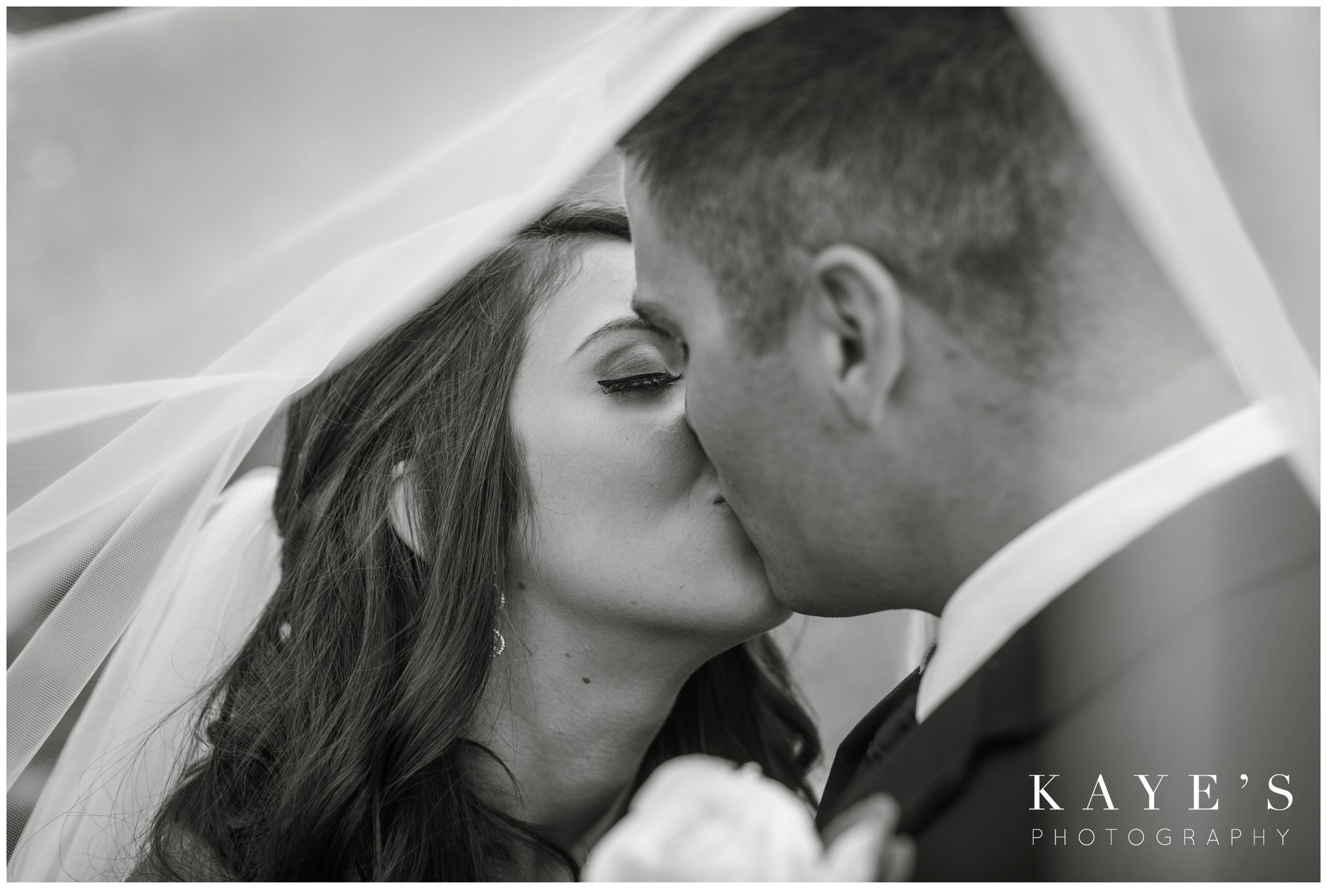 romantic wedding portraits of bride and groom during pontiac michigan wedding