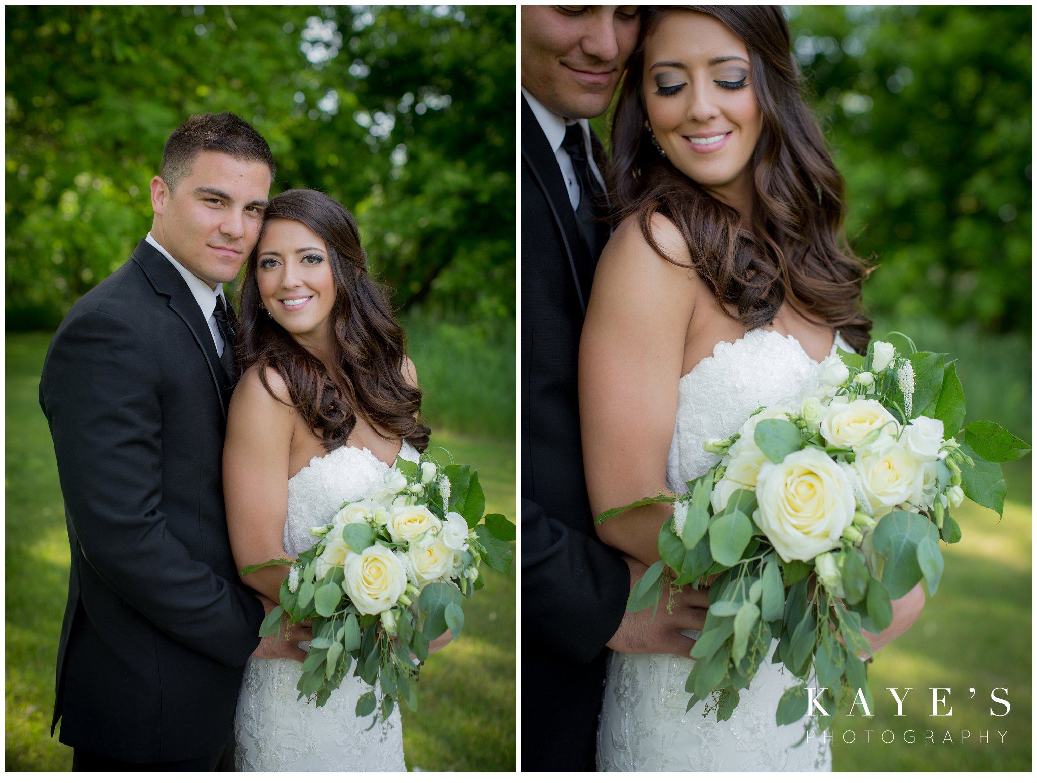 gorgeous bouquet with bride holding it in arm while groom hugs her in pontiac michigan during wedding photos