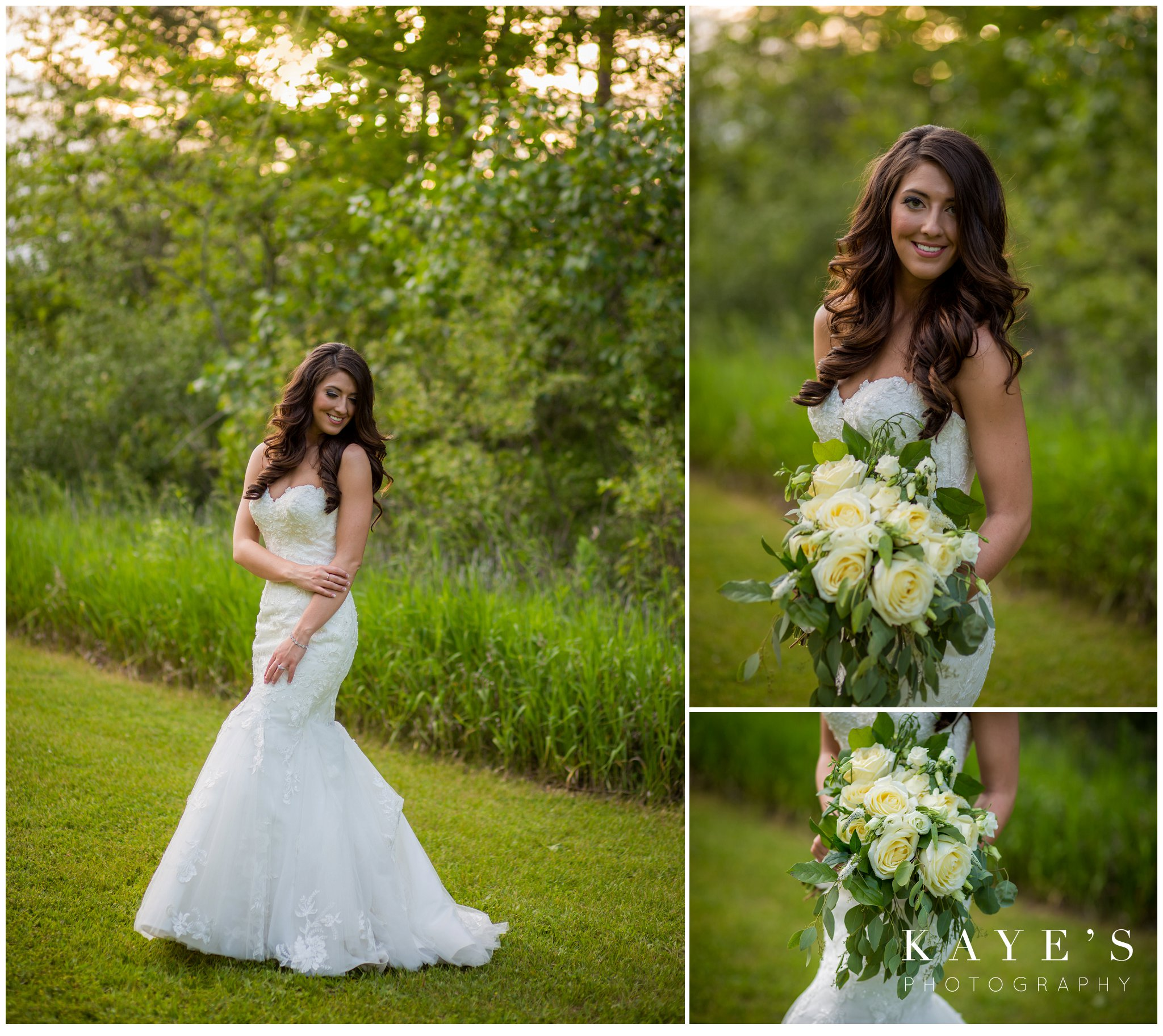 beautiful simple bride with hair down in pontiac michigan