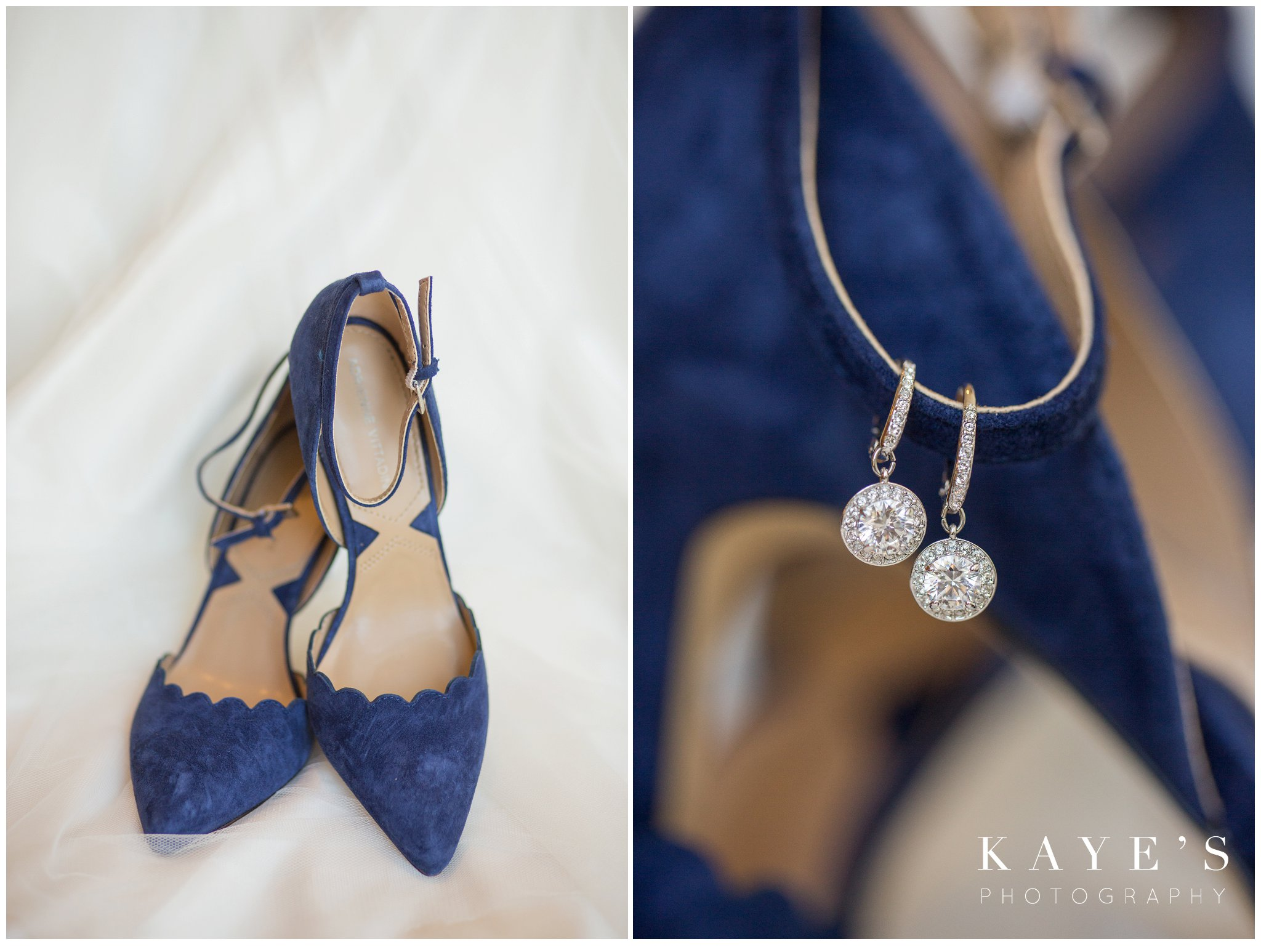 blue bridal shoes on white dress in plymouth michigan during wedding ceremony