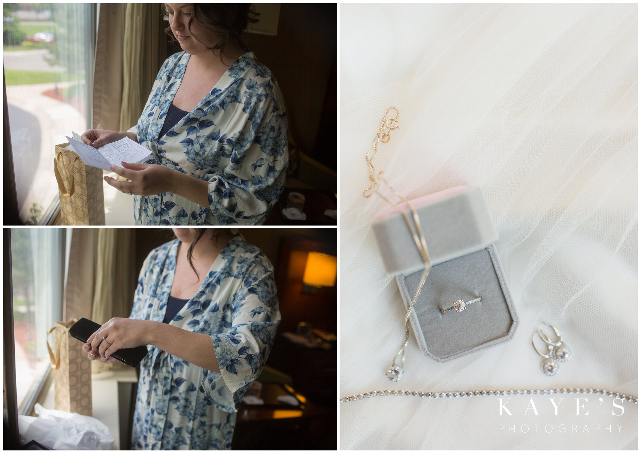 bride opening up gift from groom and her bridal jewelry in plymouth michigan