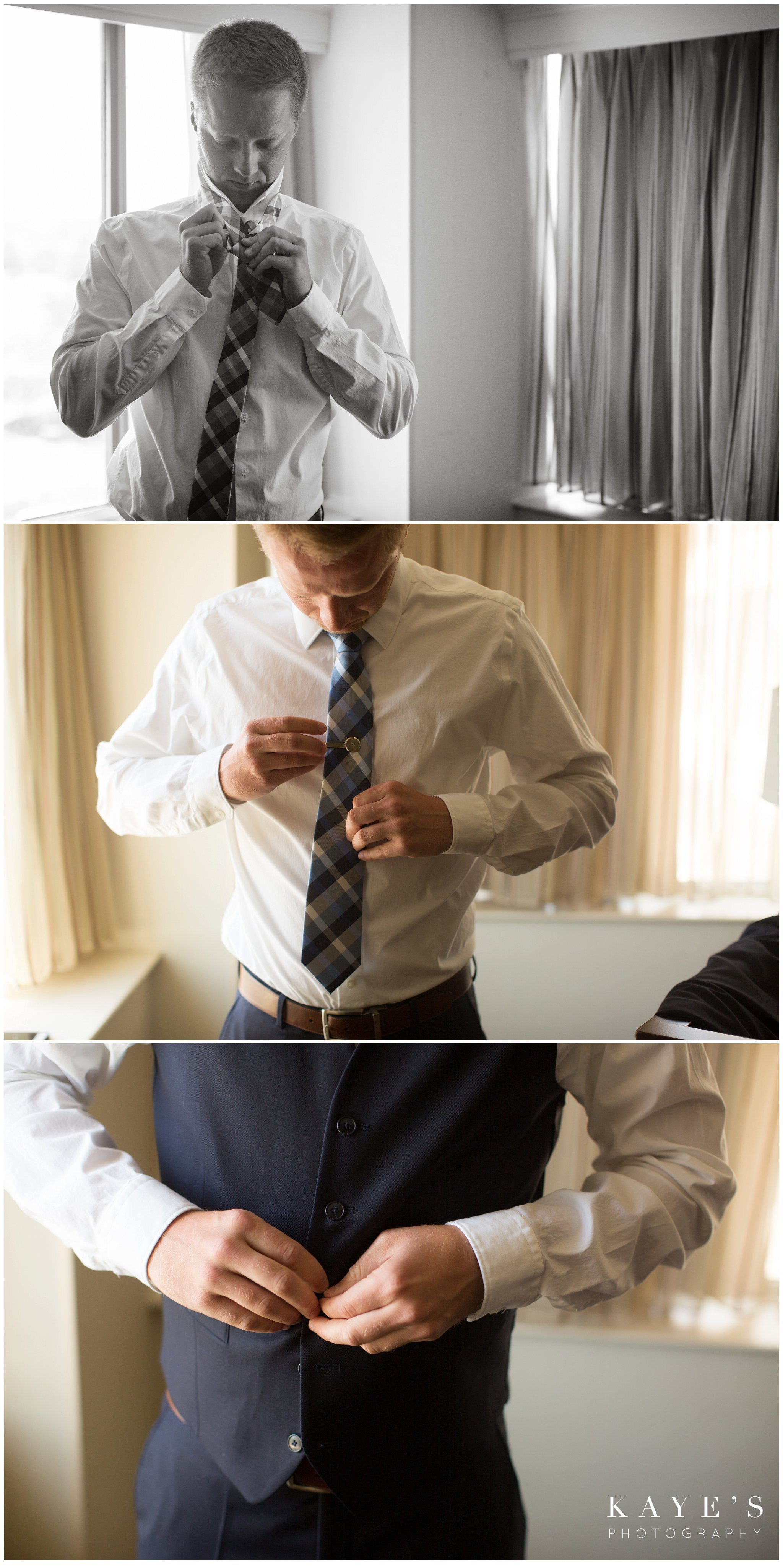 groom details and getting ready in hotel room during wedding photos in plymouth michigan